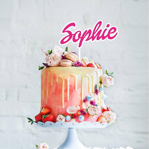 Duo Tone Script Name  - Cake Topper