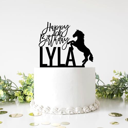 Horse with Custom Name - Birthday Cake Topper