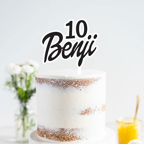 Duo Tone Script Name with Age - Cake Topper