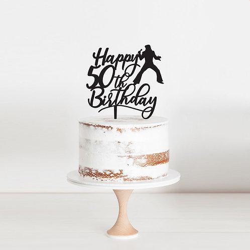 Happy 50th Birthday - Elvis Cake Topper