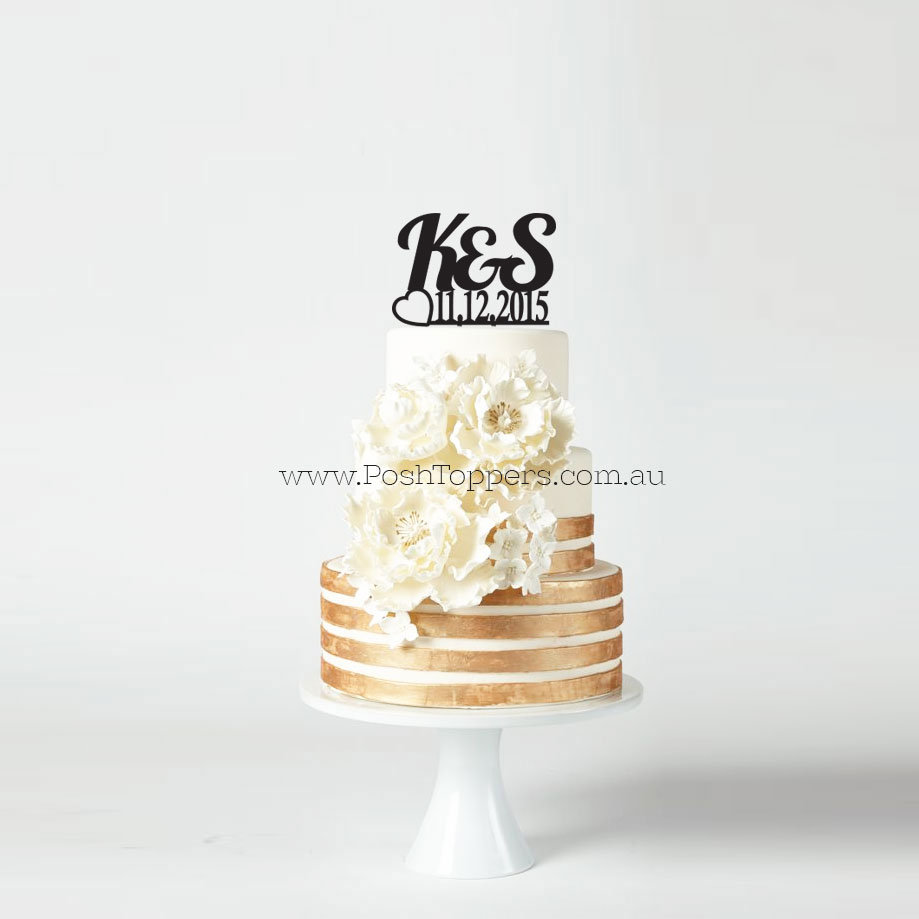 Initials With Date All Cake Toppers Shipped Within 24hrs