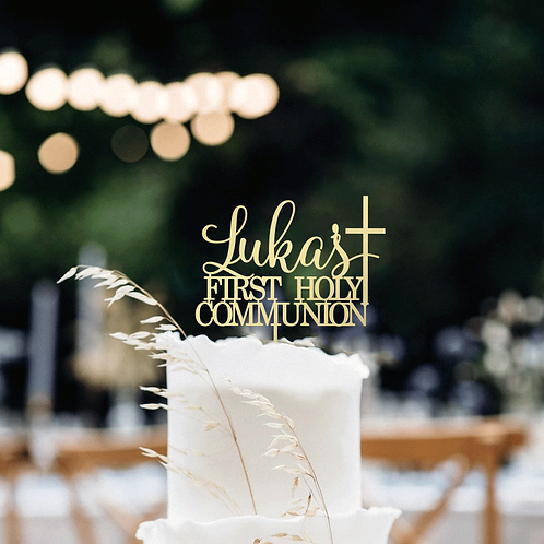Scripted First Holy Communion + Cross - Cake Topper