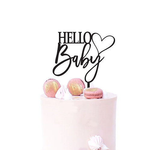 Hello Baby with Heart - Baby Shower Cake Topper