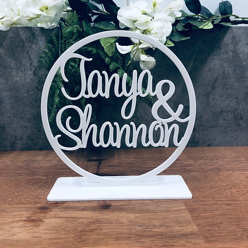 Freestanding Hoop Sign with Base - Your Text - Font 3