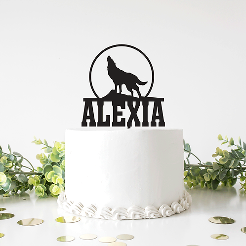 Howling Wolf Moon with Name -  Cake Topper