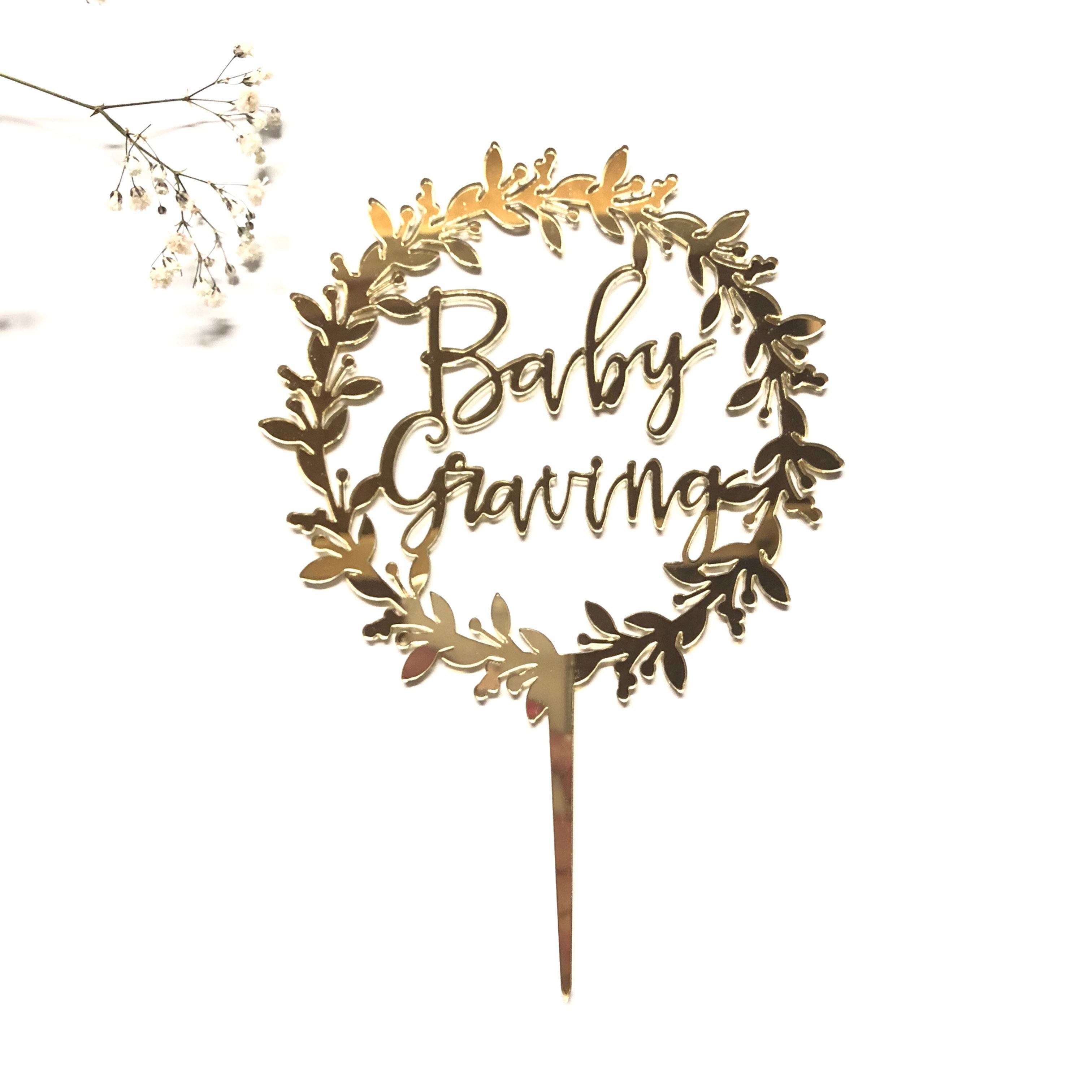Baby Custom Name Wreath Cake Topper Posh Toppers
