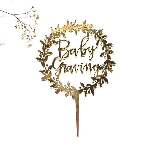Baby + Custom Name Wreath - Cake Topper