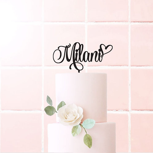 Milani Script Name with heart -  Birthday Cake Topper