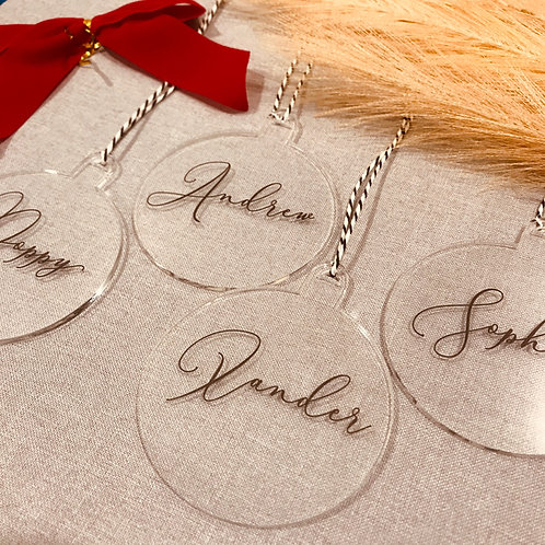 Personalised Christmas Ornaments - Clear