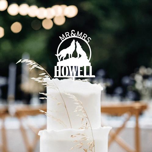 Mr&Mrs Howling Wolf  - Custom Cake Topper
