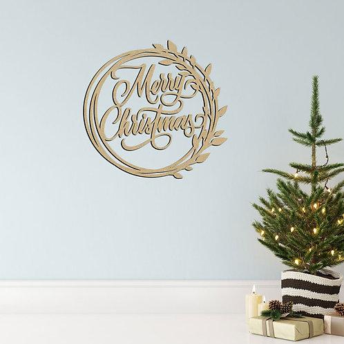 Merry Christmas Wreath - Hoop Sign