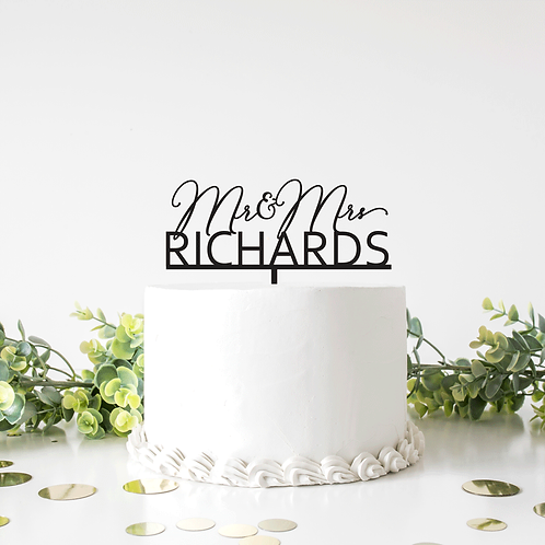 Mr and Mrs Script Block Surname - Cake Topper
