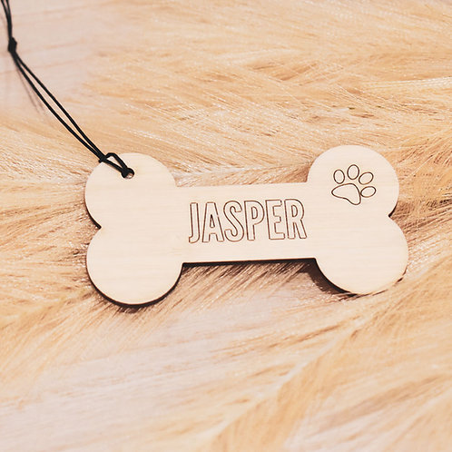 Personalised Bone Outline -  Wooden Pet Ornament