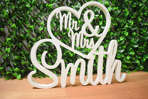 Mr & Mrs in Heart with Surname - White Freestanding Wedding Sign