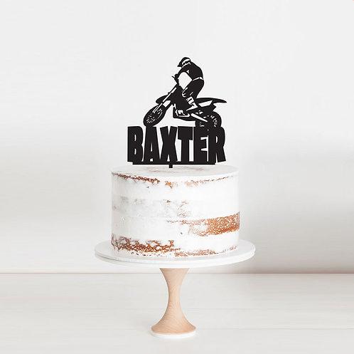Dirtbike Custom Name 1- Cake Topper