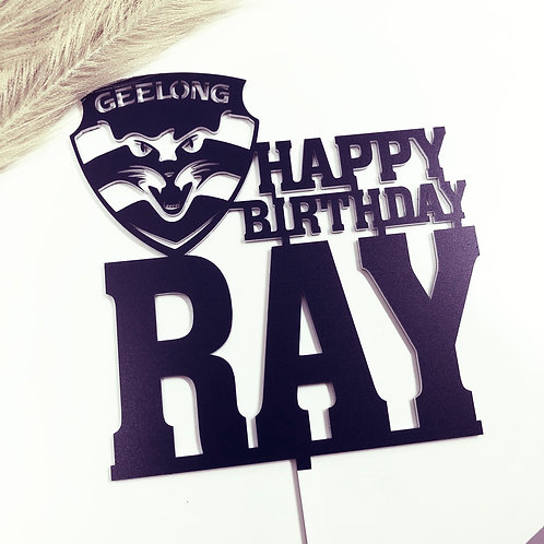 Geelong Cats Football AFL - Birthday Cake Topper