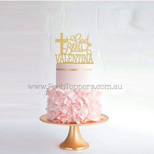 God Bless With Custom Name Religious Cake Toppers