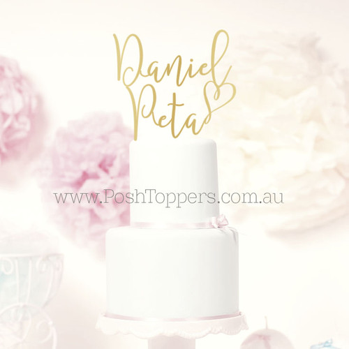 Scripted Name Heart Name Posh Toppers
