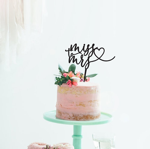 Miss to Mrs with heart - Cake Topper