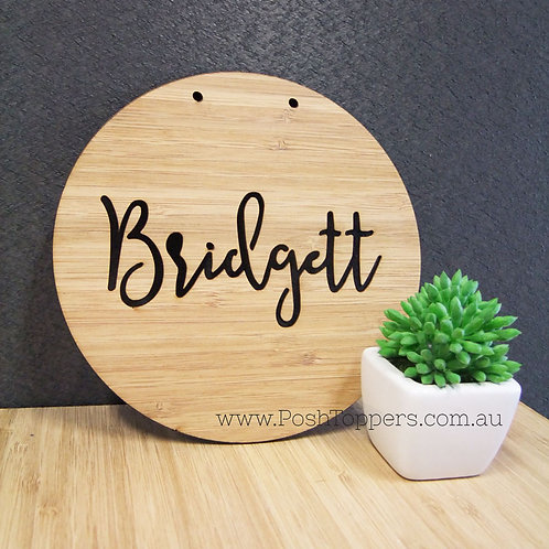 Bamboo Wall Plaque Custom Name