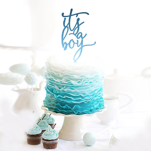 Script Its a Boy - Baby Shower Cake Topper