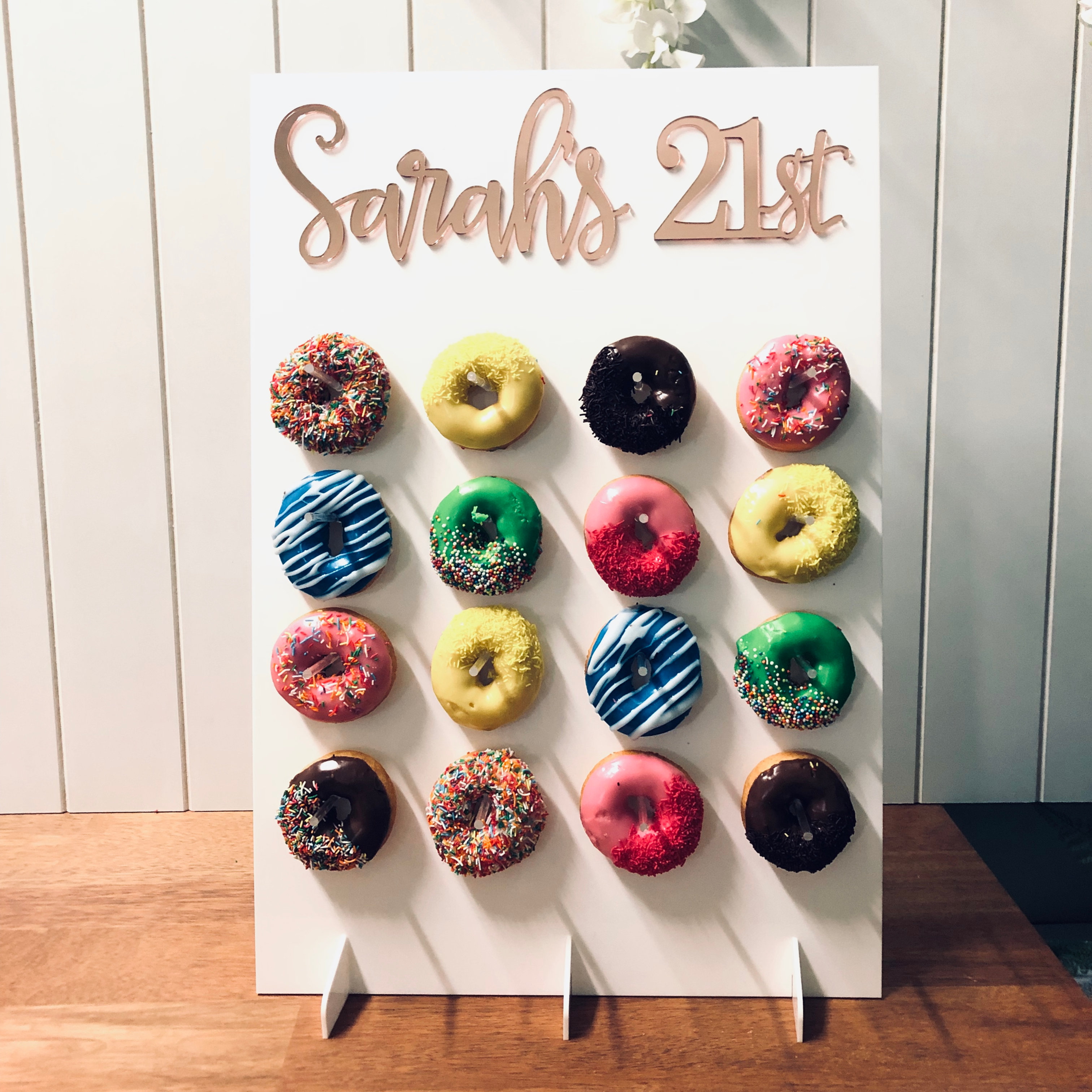 Donuts Wall Stand With Custom Text Large Posh Toppers