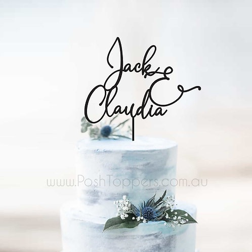 Elegant Script Name and Name - Wedding Cake Topper