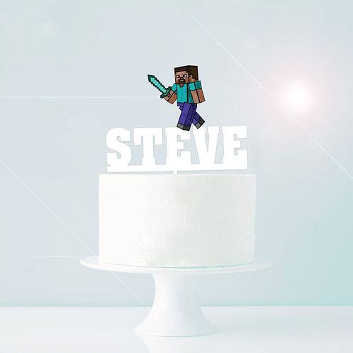 Minecraft Custom Name Cake Topper - Boy