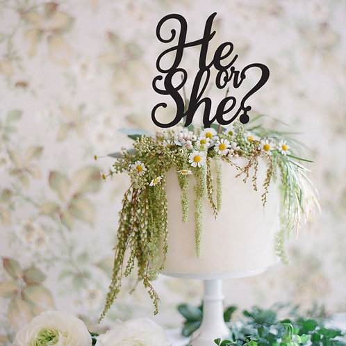 He or She? - Baby Shower Cake Topper