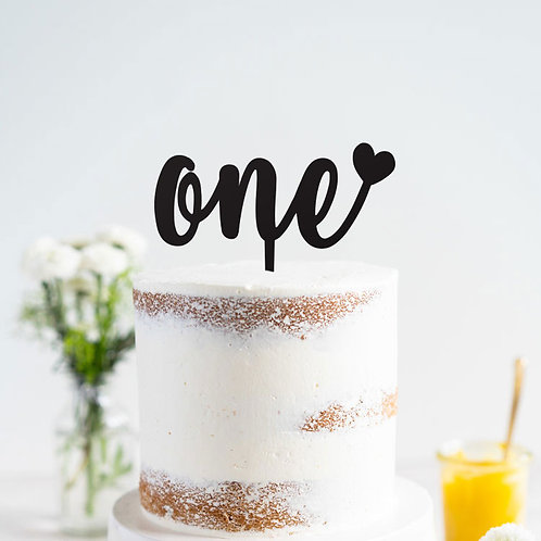 One with Heart  - Birthday Cake Topper