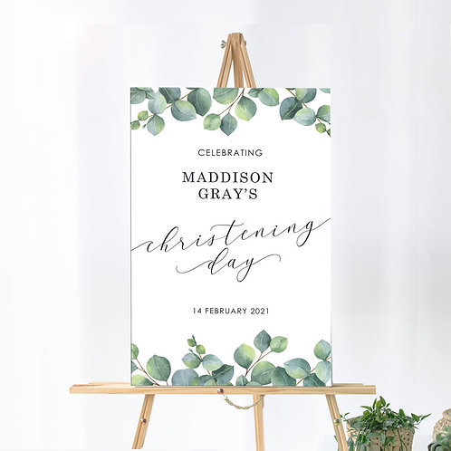 Christening Day - Welcome Board - Eucalyptus