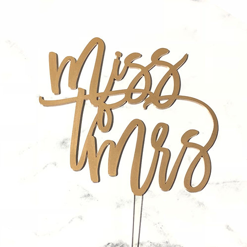 Miss to Mrs - Bridal Shower Cake Topper
