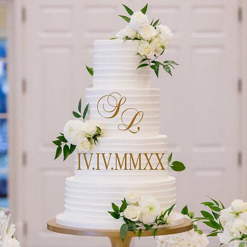 Roman Numeral Date & Initials - Cake Decor