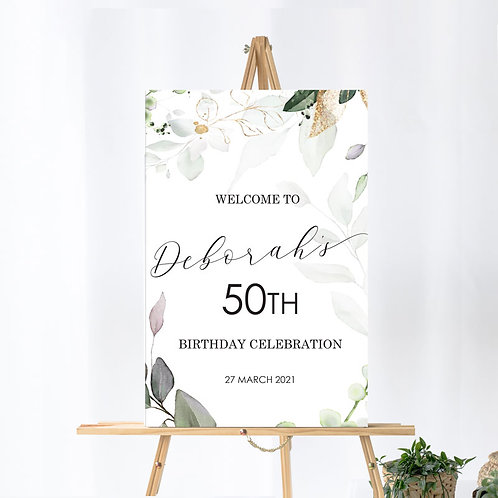 Custom Birthday - Welcome Board - Gold Floral