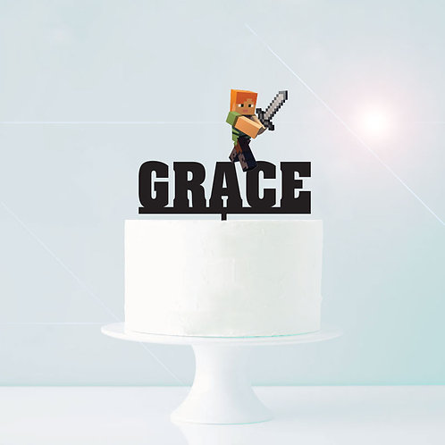 Minecraft Custom Name Cake Topper - Girl