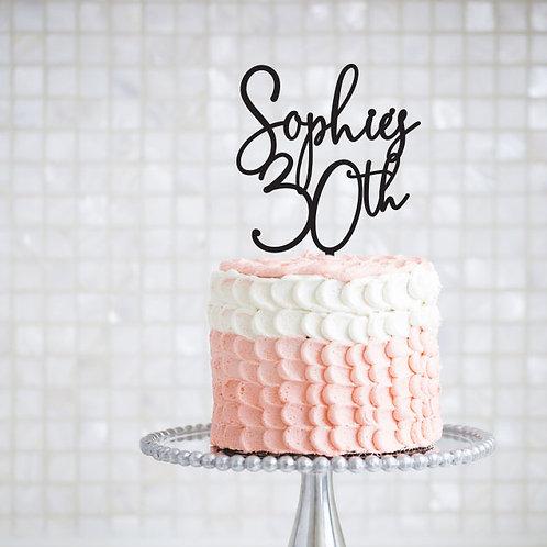 Script Name + Age - Birthday Cake Topper