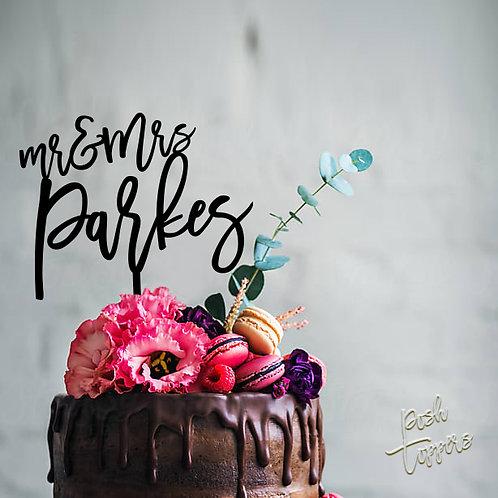 Mr & Mrs Scripted Surname - Cake Topper
