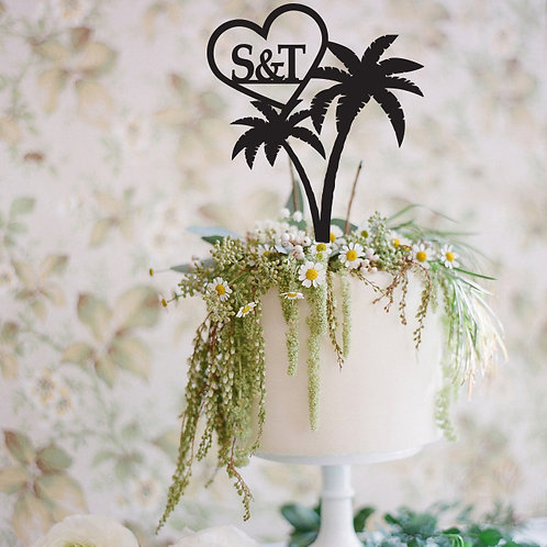 Palm Tree with Initials or Date - Custom Cake Topper