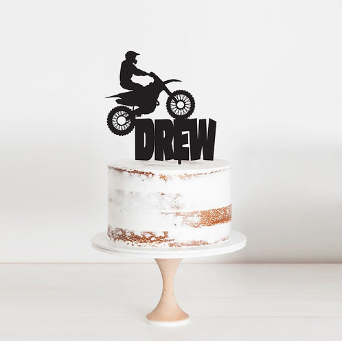 Dirtbike Custom Name 2- Cake Topper
