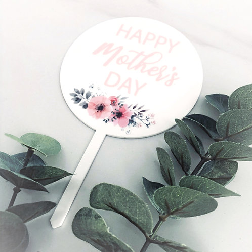 Printed Mothers Day - Cake Topper - White