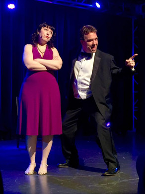 Deb and Rob Schiffmann performing with Broadway's Next Hit Musical at the Temple Theatre in Des Moines Iowa 2016.