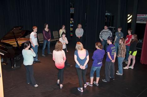 Deb teaching improvisation to students in McPherson Kansas 2014.