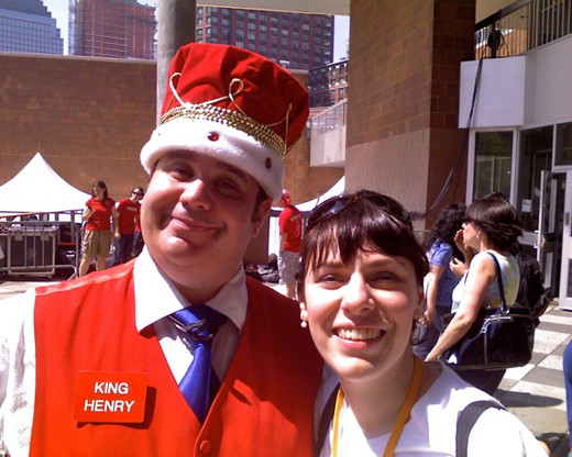 Deb co hosts at TribecaFamily Day with the host of the Brooklyn Cyclone's ballgames 'King Henry'.