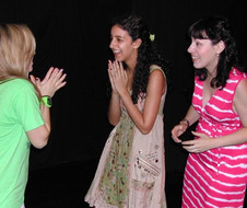 Deb works with her teen improv students at Acteen.
