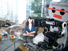 Deb on set for her MasterCard commercial.