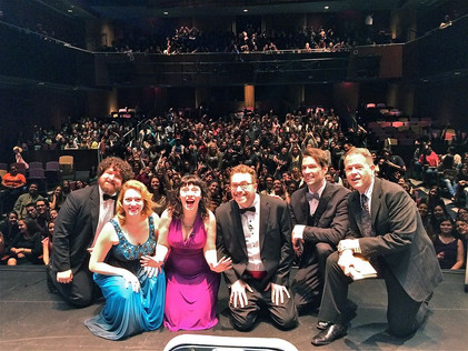 Deb and the cast and audience for a Broadway's Next Hit Musical performance 2016.