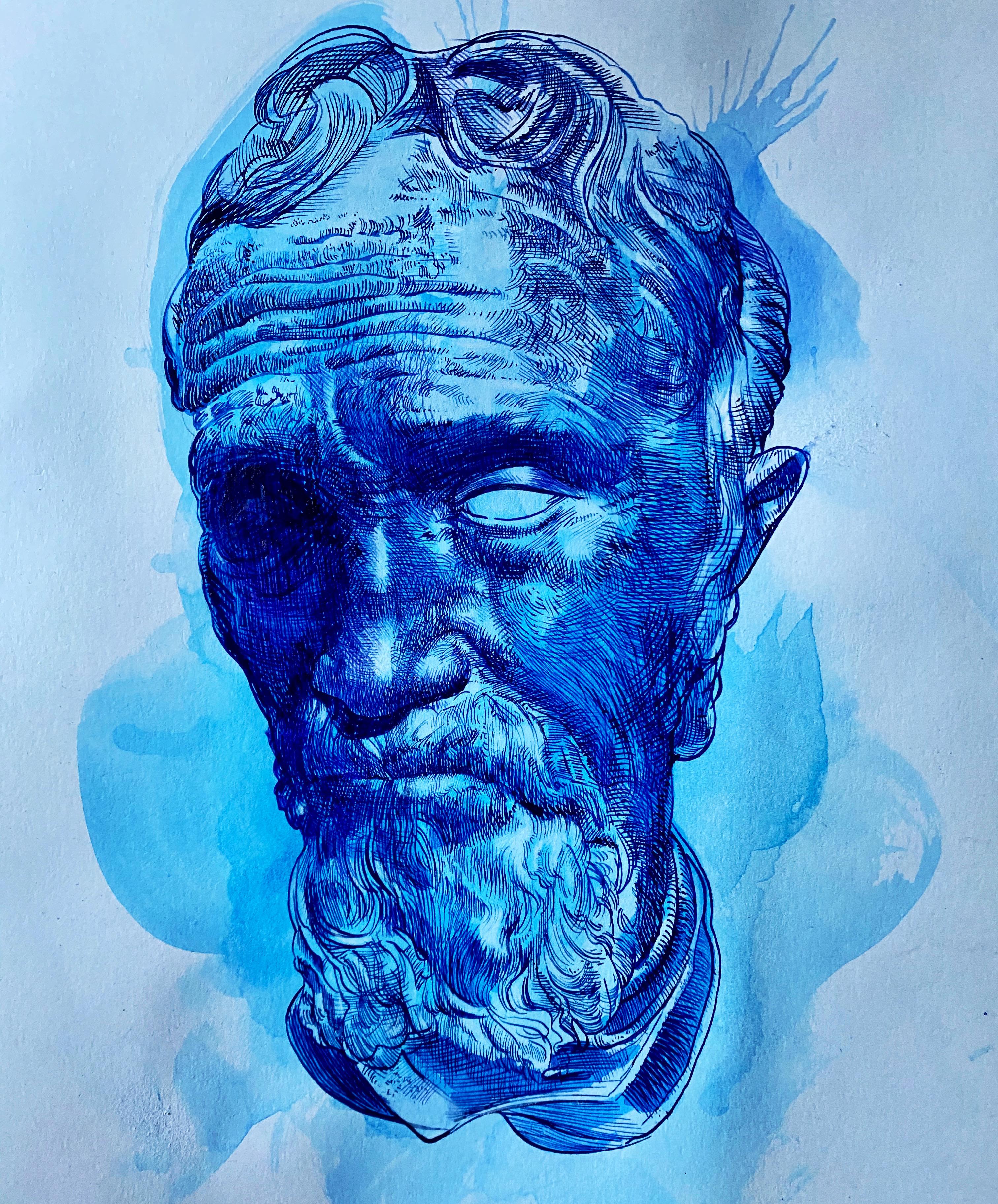 Michelangelo Bust in Blue