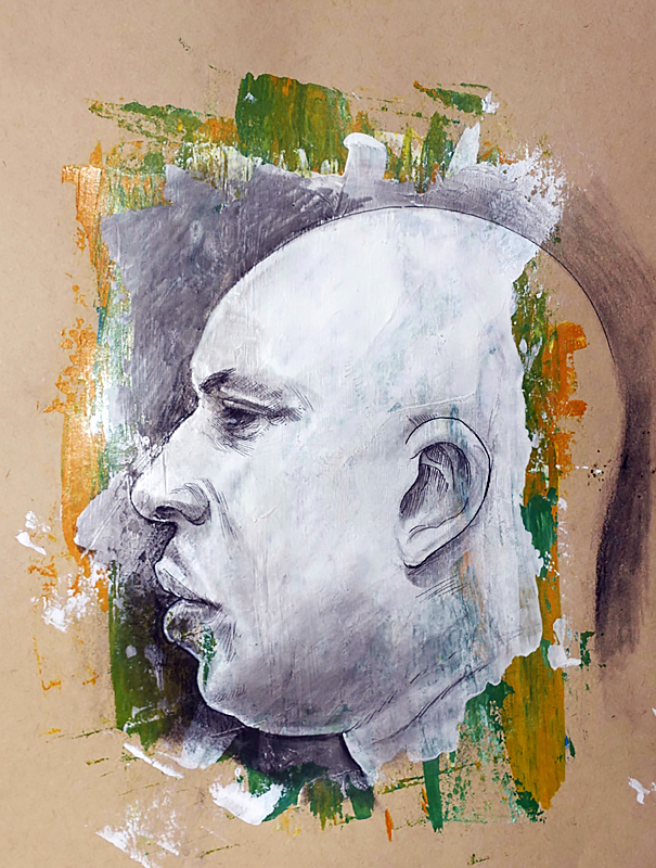 Mixed Media Sketchbook Portrait 3