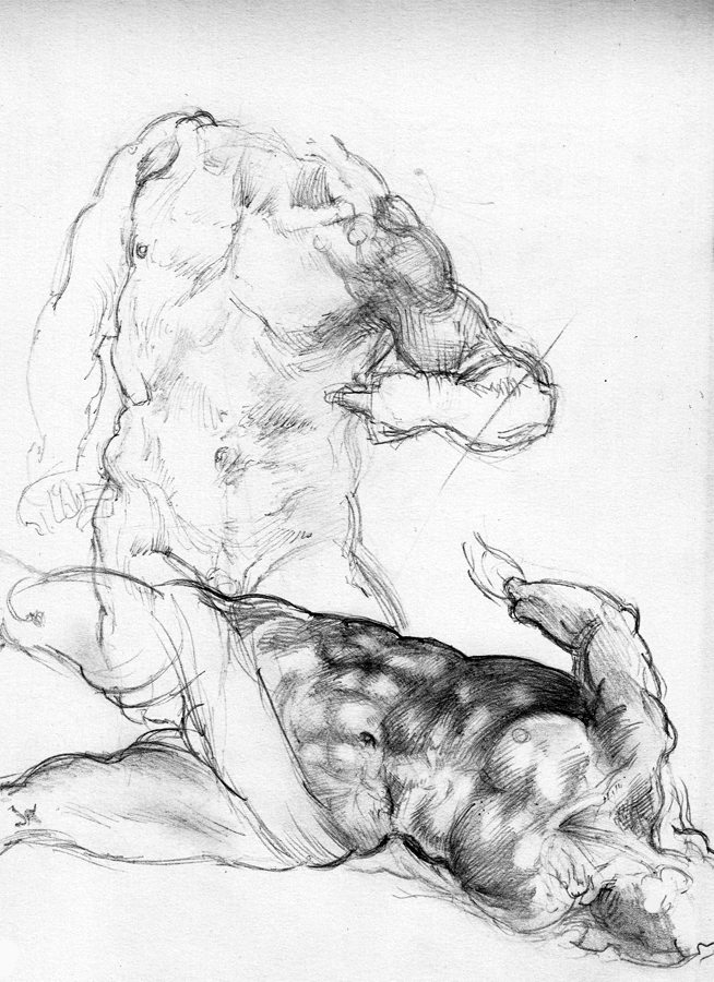 Pencil copies after Michelangelo 3