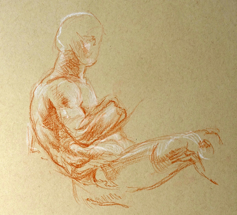Red and white chalk study